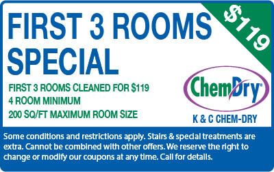 First 3 rooms for $119 carpet cleaning special