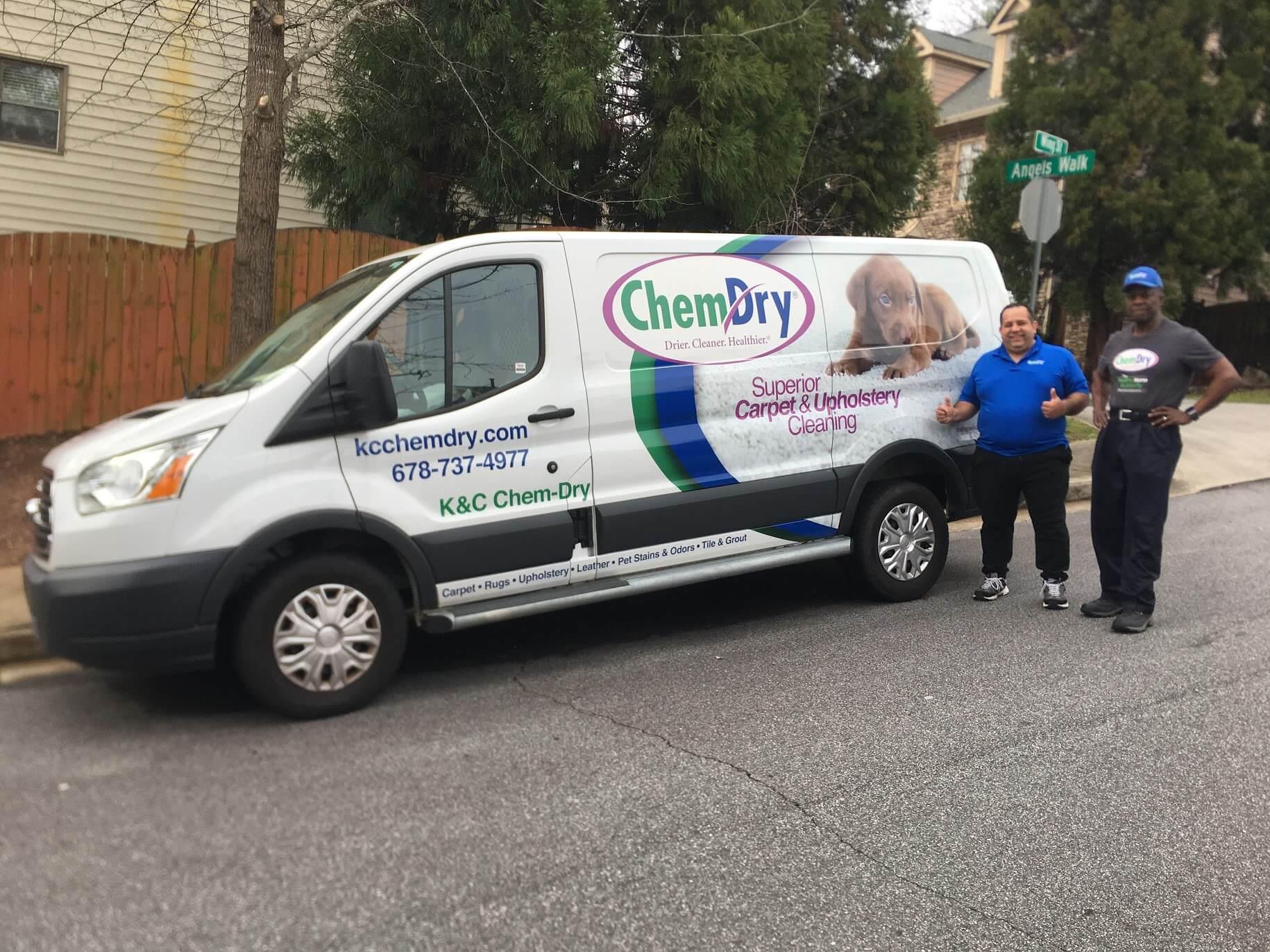 K&C Chem-Dry techs standing beside white van in gwinnett county