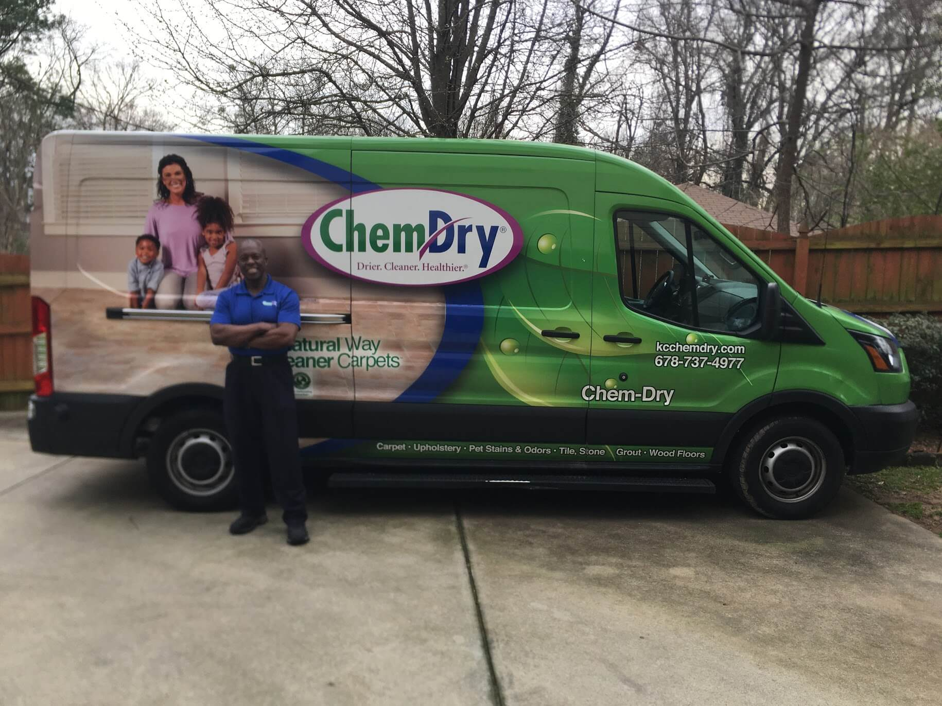 Ivan in front of green K&C Chem-Dry van