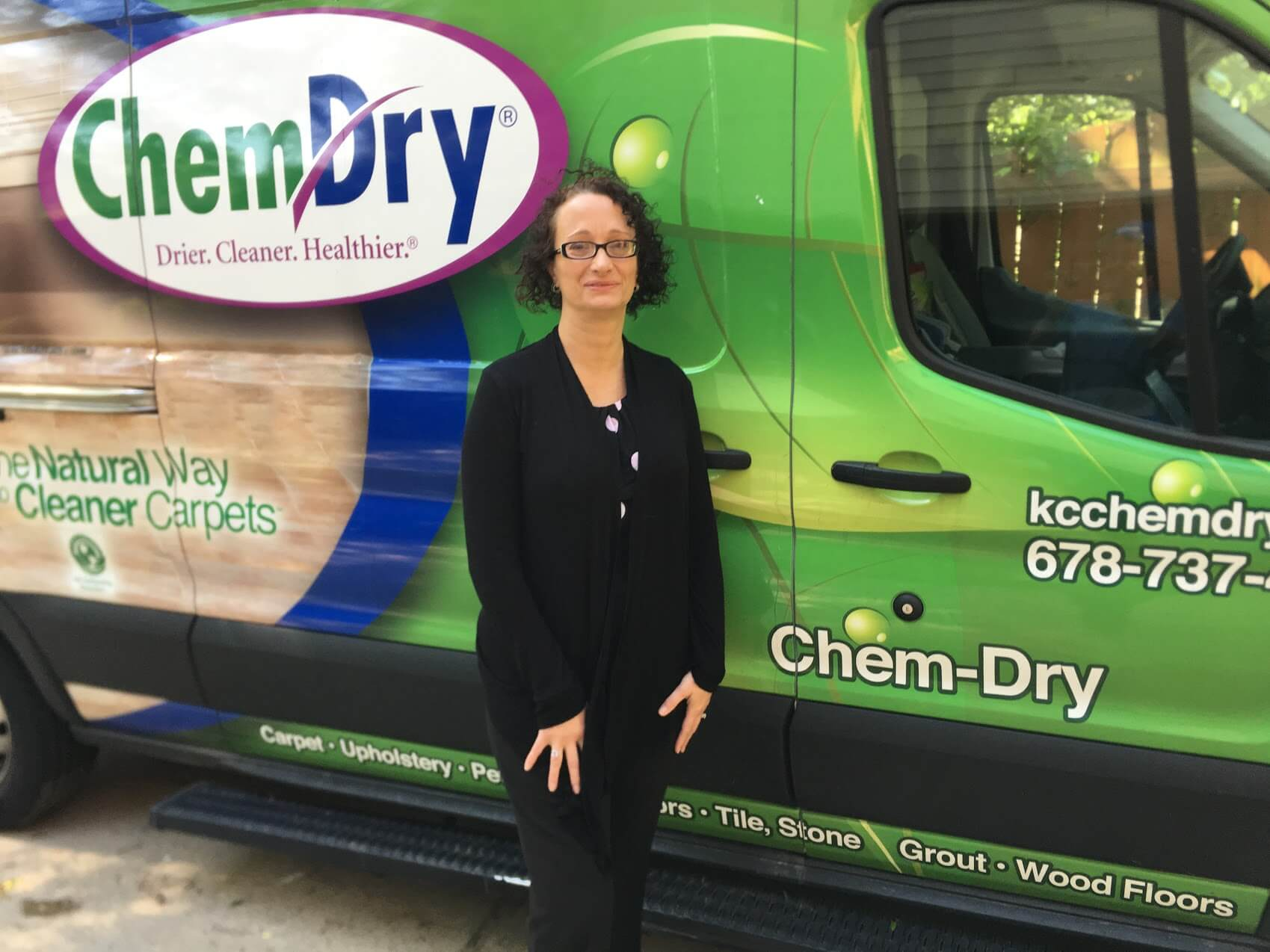 Tanja in front of green K&C Chem-Dry van