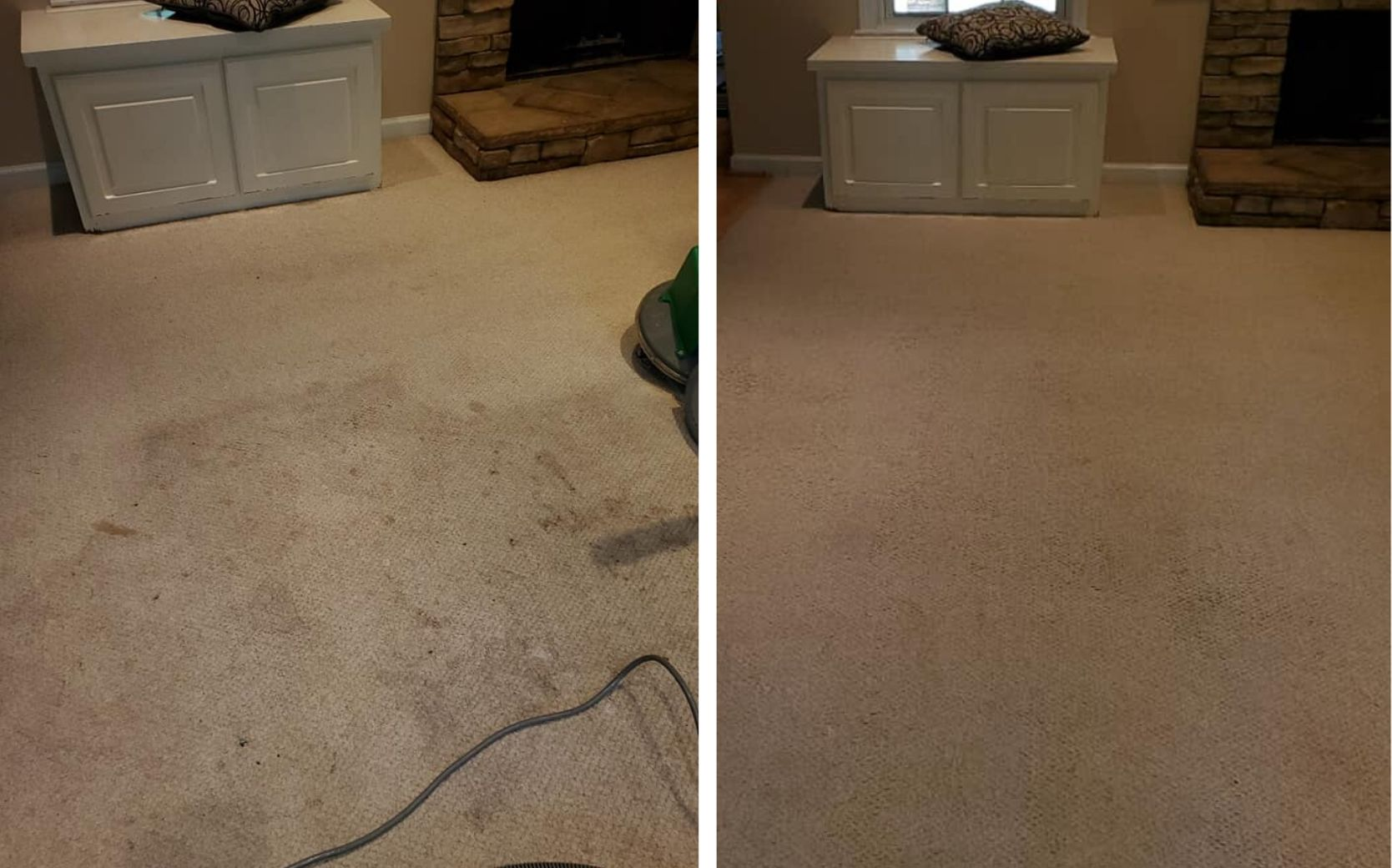 brown carpet before and after carpet cleaning in lawrenceville ga