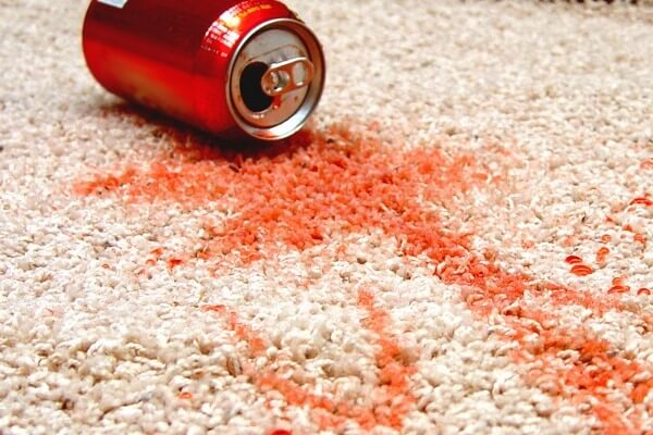 red soda stain on carpet